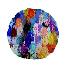 Flowers Colorful Drawing Oil Standard 15  Premium Flano Round Cushions