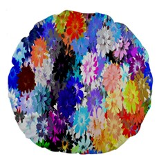 Flowers Colorful Drawing Oil Large 18  Premium Flano Round Cushions