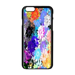 Flowers Colorful Drawing Oil Apple iPhone 6/6S Black Enamel Case