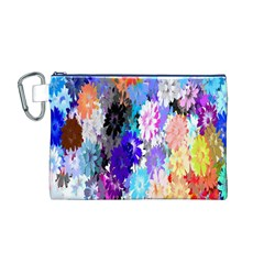 Flowers Colorful Drawing Oil Canvas Cosmetic Bag (M)