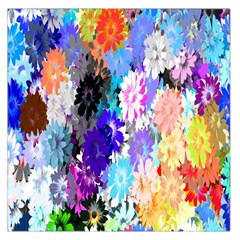 Flowers Colorful Drawing Oil Large Satin Scarf (Square)