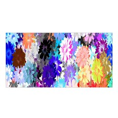 Flowers Colorful Drawing Oil Satin Shawl