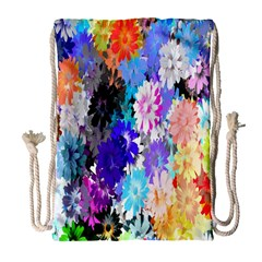 Flowers Colorful Drawing Oil Drawstring Bag (Large)