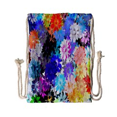 Flowers Colorful Drawing Oil Drawstring Bag (Small)