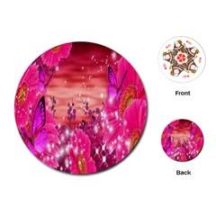 Flowers Neon Stars Glow Pink Sakura Gerberas Sparkle Shine Daisies Bright Gerbera Butterflies Sunris Playing Cards (Round)