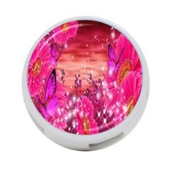 Flowers Neon Stars Glow Pink Sakura Gerberas Sparkle Shine Daisies Bright Gerbera Butterflies Sunris 4-Port USB Hub (Two Sides)
