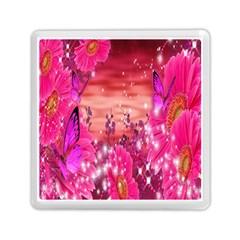 Flowers Neon Stars Glow Pink Sakura Gerberas Sparkle Shine Daisies Bright Gerbera Butterflies Sunris Memory Card Reader (square)