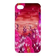 Flowers Neon Stars Glow Pink Sakura Gerberas Sparkle Shine Daisies Bright Gerbera Butterflies Sunris Apple iPhone 4/4S Hardshell Case