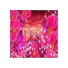 Flowers Neon Stars Glow Pink Sakura Gerberas Sparkle Shine Daisies Bright Gerbera Butterflies Sunris Acrylic Tangram Puzzle (4  x 4 )