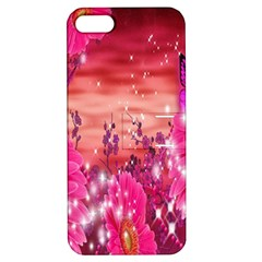 Flowers Neon Stars Glow Pink Sakura Gerberas Sparkle Shine Daisies Bright Gerbera Butterflies Sunris Apple Iphone 5 Hardshell Case With Stand