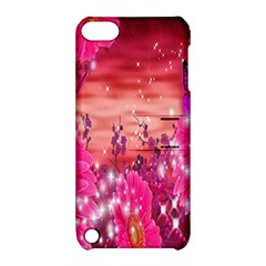 Flowers Neon Stars Glow Pink Sakura Gerberas Sparkle Shine Daisies Bright Gerbera Butterflies Sunris Apple iPod Touch 5 Hardshell Case with Stand