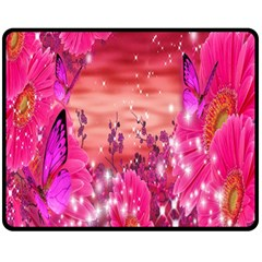 Flowers Neon Stars Glow Pink Sakura Gerberas Sparkle Shine Daisies Bright Gerbera Butterflies Sunris Double Sided Fleece Blanket (Medium)