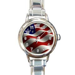 Flag United States Stars Stripes Symbol Round Italian Charm Watch