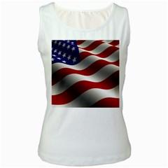 Flag United States Stars Stripes Symbol Women s White Tank Top