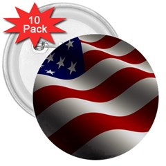 Flag United States Stars Stripes Symbol 3  Buttons (10 Pack)