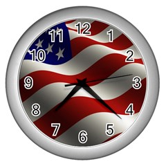 Flag United States Stars Stripes Symbol Wall Clocks (Silver)