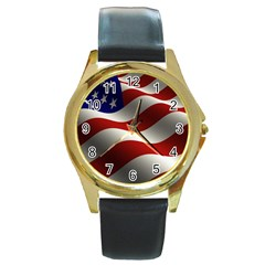 Flag United States Stars Stripes Symbol Round Gold Metal Watch