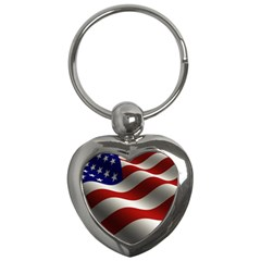 Flag United States Stars Stripes Symbol Key Chains (heart)
