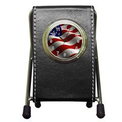 Flag United States Stars Stripes Symbol Pen Holder Desk Clocks