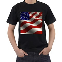 Flag United States Stars Stripes Symbol Men s T Shirt (black) (two Sided)
