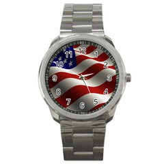 Flag United States Stars Stripes Symbol Sport Metal Watch