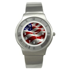 Flag United States Stars Stripes Symbol Stainless Steel Watch