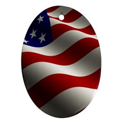 Flag United States Stars Stripes Symbol Oval Ornament (two Sides)