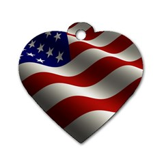 Flag United States Stars Stripes Symbol Dog Tag Heart (one Side)