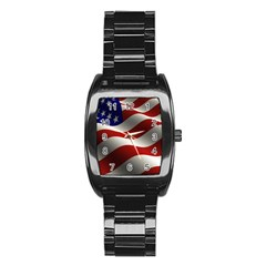 Flag United States Stars Stripes Symbol Stainless Steel Barrel Watch