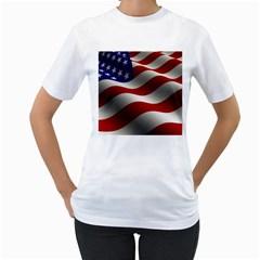 Flag United States Stars Stripes Symbol Women s T-Shirt (White)