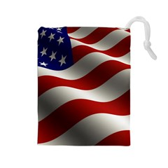Flag United States Stars Stripes Symbol Drawstring Pouches (large)