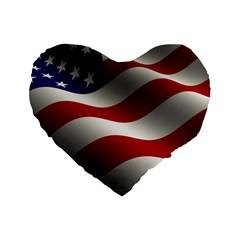 Flag United States Stars Stripes Symbol Standard 16  Premium Flano Heart Shape Cushions