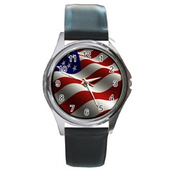 Flag United States Stars Stripes Symbol Round Metal Watch