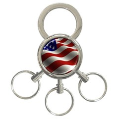 Flag United States Stars Stripes Symbol 3-Ring Key Chains