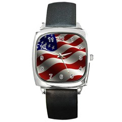 Flag United States Stars Stripes Symbol Square Metal Watch