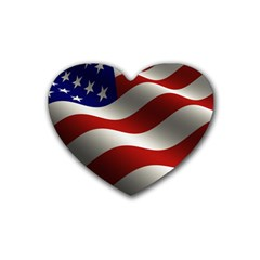 Flag United States Stars Stripes Symbol Rubber Coaster (Heart)