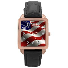 Flag United States Stars Stripes Symbol Rose Gold Leather Watch