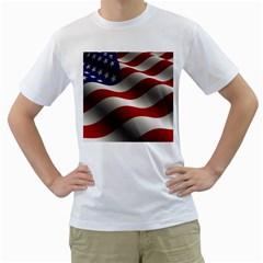 Flag United States Stars Stripes Symbol Men s T-Shirt (White)