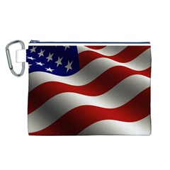 Flag United States Stars Stripes Symbol Canvas Cosmetic Bag (L)
