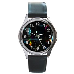 Glare Light Luster Circles Shapes Round Metal Watch