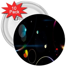Glare Light Luster Circles Shapes 3  Buttons (10 Pack)