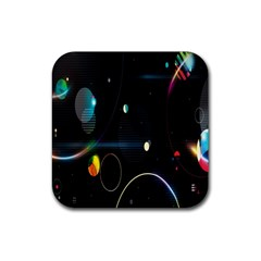 Glare Light Luster Circles Shapes Rubber Square Coaster (4 Pack)