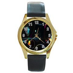 Glare Light Luster Circles Shapes Round Gold Metal Watch