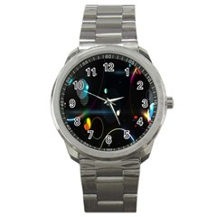 Glare Light Luster Circles Shapes Sport Metal Watch