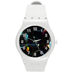 Glare Light Luster Circles Shapes Round Plastic Sport Watch (M)