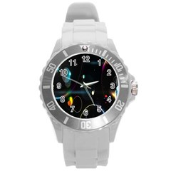 Glare Light Luster Circles Shapes Round Plastic Sport Watch (L)
