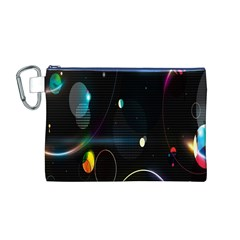 Glare Light Luster Circles Shapes Canvas Cosmetic Bag (M)