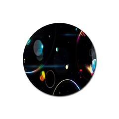 Glare Light Luster Circles Shapes Rubber Coaster (round)