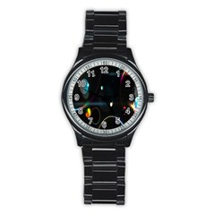 Glare Light Luster Circles Shapes Stainless Steel Round Watch