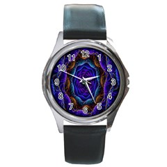 Flowers Dive Neon Light Patterns Round Metal Watch